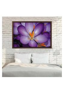Quadro Love Decor Com Moldura Violetas Madeira Escura Médio