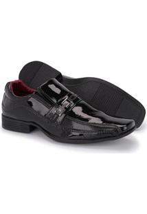 Sapato Social Couro Verniz Schiareli Masculino - Masculino-Preto