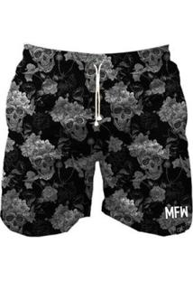 Short Tactel Maromba Fight Wear Skull Black Com Bolsos Masculino - Masculino-Preto
