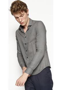 Camisa Slim Geomã©Trica Com Bordado - Preta & Brancacalvin Klein