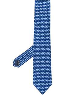 Salvatore Ferragamo Gravata Com Estampa De Porco - Azul