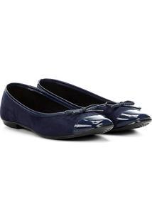 Sapatilha Moleca Bico Quadrado Biqueira Lacinho Feminina - Feminino-Azul Escuro