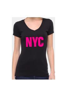 Camiseta Suffix Preta Gola V Estampa New York City Rosa Pink