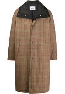 Msgm Trench Coat Xadrez - Marrom