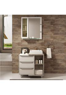 Gabinete Para Banheiro Com Cubab E Espelheira Mônaco 80 Balcony Branco Supremo/Arinto