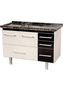 Gabinete De Cozinha New Life 117,4X55Cm Branco E Preto Bonatto