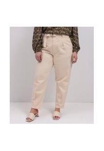 Calça Baggy Em Sarja Com Cinto Curve & Plus Size | Ashua Curve E Plus Size | Bege | 46