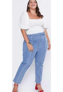Calça Jeans Almaria Plus Size Izzat Clochard Botõe