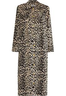 Batsheva House Leopard-Print Velvet Coat - Neutro