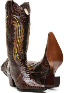 Bota Texana De Couro Country Capelli Boots Feminina - Feminino-Café