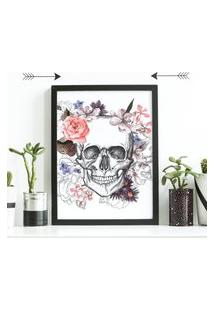 Quadro Decorativo Com Moldura Caveira Floral Preto - 30X40Cm
