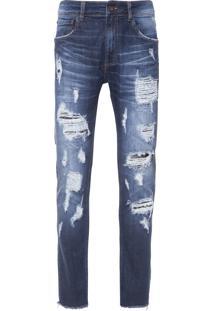 Calça Masculina Skinny Nova Iorque 3D - Azul