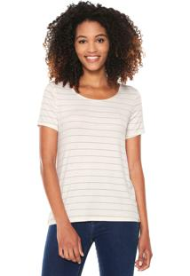 Camiseta Lunender Listrada Off-White/Dourada