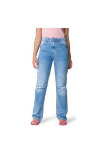 Calça Jeans Marmorizada Fast Pin Rasgos E Barra Navalhada Liso