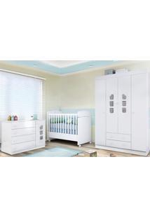 Quarto De Bebê Berço Sonho Encantado Cômoda E Guarda Roupa Lívia Branco - Phoenix - Tricae