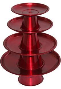 Jogo 4 Bandejas Alumínio Torre Para Doces Bolo Decoração Festa - Unissex