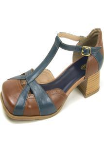 Sandália Salto Baixo Em Couro Miuzzi Chocolate/Marinho - Kanui