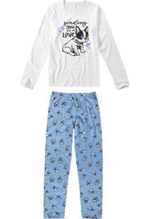 Pijama Longo Estampado Feminino
