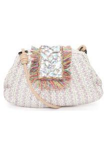Bolsa Feminina Maxi Clutch Tiracolo Em Tapeçaria Colorida - Off White