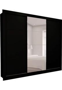 Guarda-Roupa Casal Com 1 Espelho Helena 3 Pt 6 Gv Preto 277 Cm