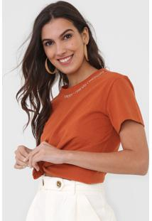 Camiseta Dress To Bordada Laranja