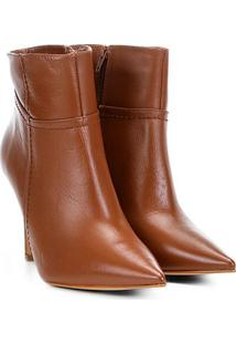 Bota Couro Cano Curto Shoestock Básica Bico Fino Feminina - Feminino-Caramelo