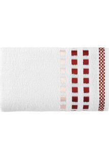 Toalha De Banho Calera- Branca & Vermelha- 67X135Cm