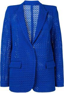 Pinko Blazer Com Bordado - Azul