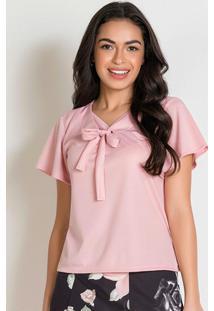 Blusa Com Amarração Frontal Rosê Moda Evangélica