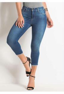 Calça Cropped Jeans Sawary Com Barra Dobrada