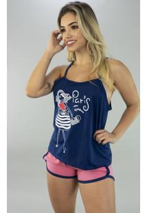 Baby Doll Bella Fiore Modas Pijama Gabriela Regata Azul Marinho - Azul Marinho - Feminino - Viscose - Dafiti