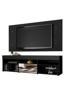 Rack Com Painel Para Tv Até 65 Polegadas Madesa London 1 Porta Com Espelho - Preto Preto