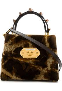 Dolce & Gabbana Bolsa Tiracolo Welcome Com Animal Print - Marrom