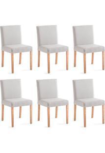 Conjunto Com 6 Cadeiras De Jantar Rose Cinza Claro E Castanho