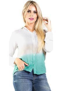 Camisa Tie DyeDouglas Harris P - Camisa Tie Dye Viscose Manga Longa BrancaDouglas Harris P