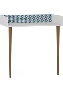 Mesa Escrivaninha De Parede 1003 Retro Branco/Estampa Azul - Bentec