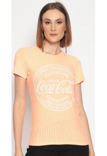 "Camiseta Listrada ""Thirst Quenching""- Laranja Claro & Lacoca-Cola"