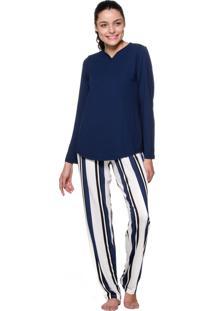 Pijama Estilo Boutique Listrado Azul