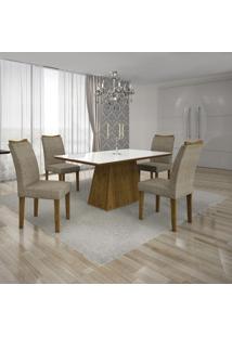 Conjunto Mesa Pampulha 1,20X0,80M Com 4 Cadeiras Vidro Branco Suede Camurça Canela - Leifer