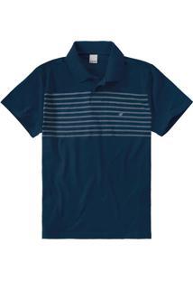 Camisa Azul Escuro Polo Slim Listrada Malwee
