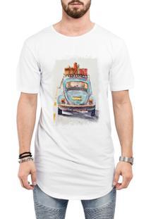 Camiseta Criativa Urbana Long Line Oversized Fusca Azul Carro Antigo Clássico Branca