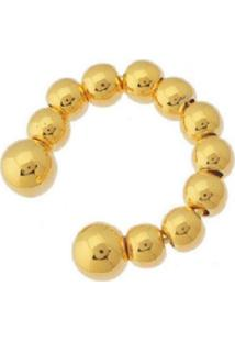 Brinco Piercing Esferas Douradas Banhado A Ouro 18K - Tricae