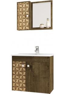 Gabinete Para Banheiro Com Cuba E Espelho Munique Tradicional Móveis Bechara Madeira Rústica/3D