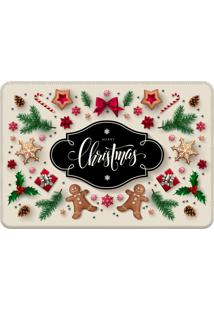 Tapete Sala Love Decor Merry Christmas Bege Off-White