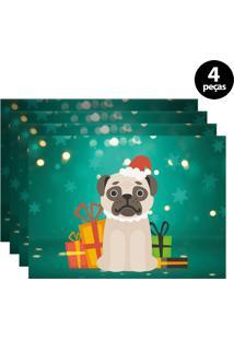 Jogo Americano Mdecore Dog Noel 40X28Cm Verde 4Pçs