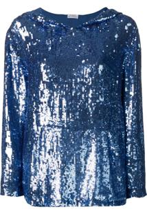 P.A.R.O.S.H. Blusa De Moletom Com Paetês E Capuz - Azul