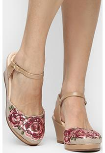 Sandália Shoestock Espadrille Bordado Flor Color - Feminino-Bege