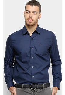 Camisa Social Lacoste Manga Longa Masculina - Masculino-Azul Escuro