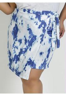 Saia Curta Tie Dye Azul Com Amarrarção Plus Size