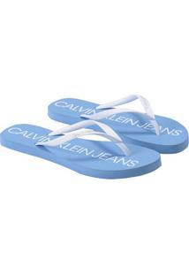 Chinelo Ck Fem Jeans E Logo - Branco 2 Chinelo Ck Fem Jeans E Logo Branco 2 - 39/40
